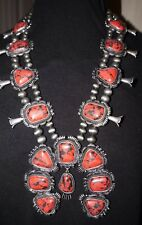 Western Style Squash Blossom Necklace Set  RED Stones NEW STYLE