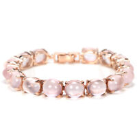 57.90 CT. REAL AAA ROSE QUARTZ 11X9 MM. OVAL STERLING 925 SILVER BRACELET 7.75
