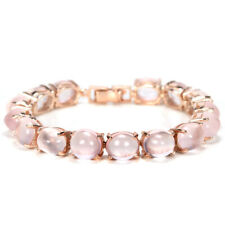 75.35 CT. REAL AAA ROSE QUARTZ 11X9 MM. OVAL STERLING 925 SILVER BRACELET 7.5""