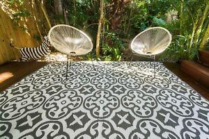 200 x 270cm Lisboa Grey/White Outdoor Plastic Rug/Mat Waterproof