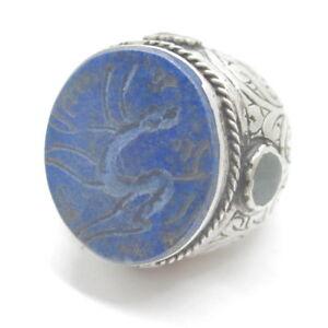 Islamic Mens Rings Natural Lapis Stones 925 Sterling Silver Muslim Allah Size7.5