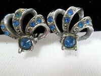 Vintage earrings silver tone metal & blue gems clip on circa 1950s