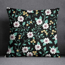 S4Sassy Decorative Black Cushion Cover Floral Printed Pillow Cover Throw
