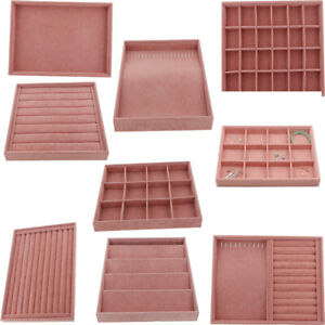 Pink Velvet Stack-Able Jewelry Tray Showcase Necklace Stud Display Organizer