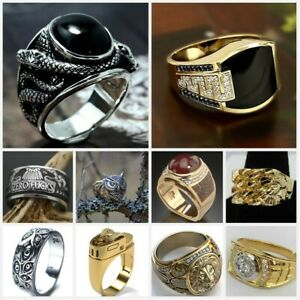 Heavy Punk 925 Silver Rings for Men's Jewelry  Party Band Ring Gift Size 7-13