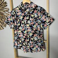 Mymstorm Size 10 - 12 S - M Floral Cotton Short Sleeve Shirt Black Blouse