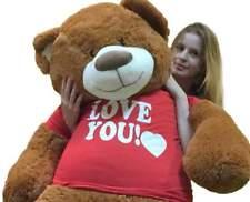 Big Plush 5 Foot Giant Teddy Bear 60 Inch Soft Cinnamon Brown I Love You T-shirt