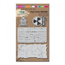 Stampendous Toxic Andy Skinner Cling Rubber Stamps background caution media art
