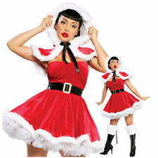 Sexy Lady Christmas Party Santa Costume Dress Cape Little Red Riding Hood Adult