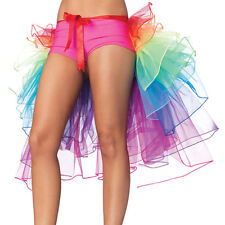 Sexy Rainbow Neon Tutu Skirt Rave Party Dance Half Bustle Burlesque Clubwear AU
