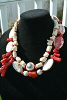 Statement Bold Chunky Coral Tribal Necklace OOAK House JEIQUE lagenlook Big Bead