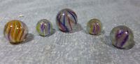 Five Antique German Handmade Marbles, Solid & Divided Core, End of Cane