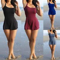 Women's Plus Size One-Piece Skirted Tankini Swimwear Swim Dress Bikini Swimsuit
