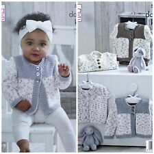 KNITTING PATTERN Baby Long & Cap Sleeve Cardigans Cottonsoft DK KingCole 5206