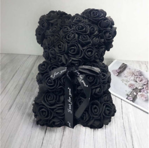 Valentine Souvenir Gifts Black Color Rose Bear with Gift Box Wedding Decor