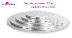 SOTTOTORTA VASSOIO ARGENTO TONDO 60cm o 80cm CAKE BOARD SPESSORE 1,2CM CAKEBOARD