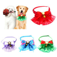 Pet Dog Puppy Cat Lace Bell Bow Fake Pearl Adjustable Collar Neck Strap Necklace