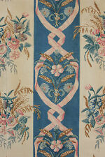 Fabric Antique French blue floral ribbon striped block printed cotton linen 1890