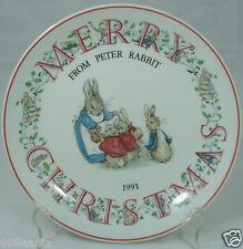 1991 CHRISTMAS PETTER RABBIT WEDGWOOD PORCELAIN PLATE ENGLAND