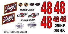 #48 Possum Jones1957-59 Schiltz Chevy 1/64th HO Scale Slot Car Waterslide Decal
