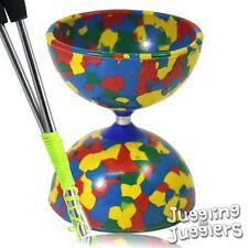 Rainbow Jester diabolo + metal aluminium handsticks + super smooth string