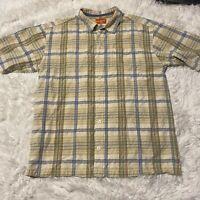 Tommy Bahama Mens Size XL Blue Beige Plaid Short Sleeve Button Down Shirt EUC
