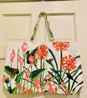 Estee Lauder Floral Butterfly Hummingbird Flower Large Tote Shopper Bag NEW