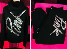 Victoria's Secret PINK Bling Sequin Hoodie & Signature Pants Set Black S RARE