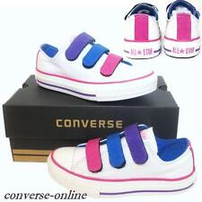 KIDS Girl Boy CONVERSE All Star WHITE 3 STRAP OX SLIP ON Trainers Shoe UK SIZE 3