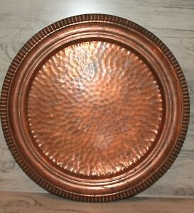 Vintage hand made copper round serving tray platter