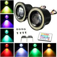 "2x LED Fog Light Projector Driving Lamp COB Angel Eye Halo Ring Kit RGB 3"" inch"
