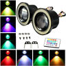 "2x LED Fog Light Projector Driving Lamp COB Angel Eye Halo Ring Kit RGB 3"" inch"