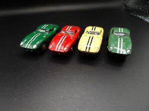 AURORA AFX 4 TJETS THUNDERJETS COBRA GT RED YELLOW OLIVE GREEN HO SLOT CARS
