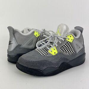Nike Air Jordan 4 Retro SE PS 'Neon 95' Grey/Yellow CT5344-007 Toddler Size 12C