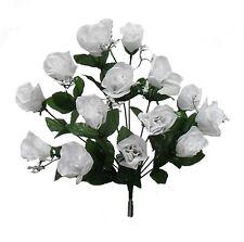 14 Long Stem Roses ~ WHITE ~ Silk Wedding Flowers Centerpieces Bridal Bouquet