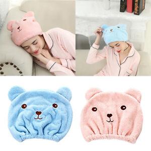 1pc Cute Bear Hair Quick Drying Hat Women Cartoon Bath Hair Cap Hair Wrap Towel