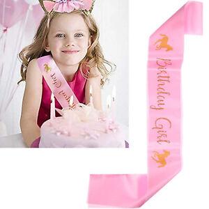 Happy Birthday Girl Satin Unicorn Sash Princess Party Child Size Fancy Ribbon