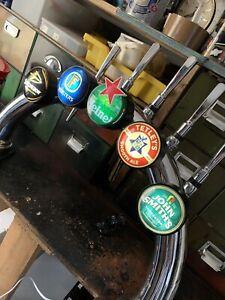 Chrome 5 Way Bridge Beer Pump With Taps, Handles  Man Cave Pub Shed...