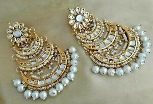 Bollywood Fashion Designer Gold Finish Kundan Wedding Earrings Enameled Jewelry