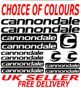 CANNONDALE Cycling Stickers Decals Set Various Colours Bike Frame Fork MTB Road