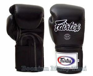 Fairtex Muay Thai Boxing Gloves BGV5 Super Sparring Black MMA K1 Kick 12 14 16
