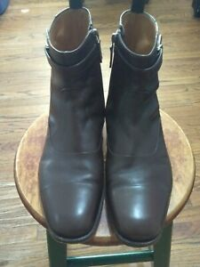 Gucci Brown Leather Ankle Zip Men's Boots 309044 ARPB0 2140