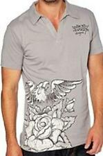 polo manches courtes ED HARDY christian audigier - gris - taille M - neuf