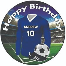 "Personalised Football Shirt 8"" Round Icing Cake Topper Birthday Blue Kit"
