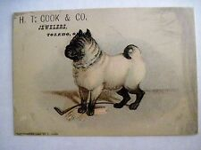 1882 Vintage Victorian Trade Card for H.T. Cook & Co. Jewelers w/ Bulldog *