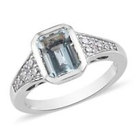 Platinum Over Sterling Silver Blue Aquamarine Zircon Promise Ring Size 7 Ct 1.8
