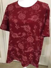 Susan Graver Size XL Red & Pink Short Sleeve Top Shirt