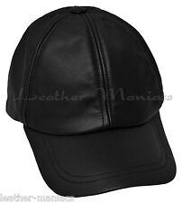 Basecap aus Leder Nappaleder Lederbasecap Lederkappe schwarz