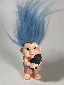 Vintage Rare Applause Magic Troll Figure Girl with Cat Cute Blue Hair