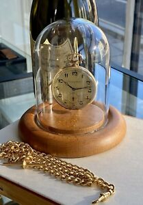 IWC Antique Vintage 14K 585 Solid Yellow Gold Dial mens Pocket Watch + Dome case